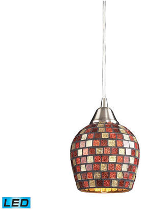 Elk Lighting 1 Light Pendant in Satin Nickel and Multi Mosaic Glass - Led Offering Up To 800 Lumens (60 Watt Equivalent)