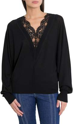 Chloé Egg Shaped Swetaer With Lace Insert On The Neckline