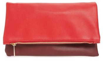 Bp. Faux Leather Fold-Over Clutch - Burgundy