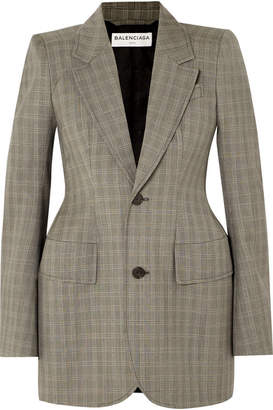 Balenciaga Checked Wool And Mohair-blend Blazer - Beige