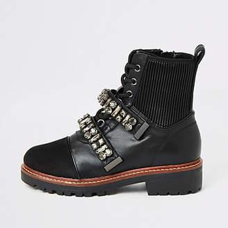 River Island Black embellished strap chunky biker boots