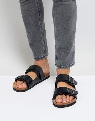 Brave Soul Double Strap Sandals In Black