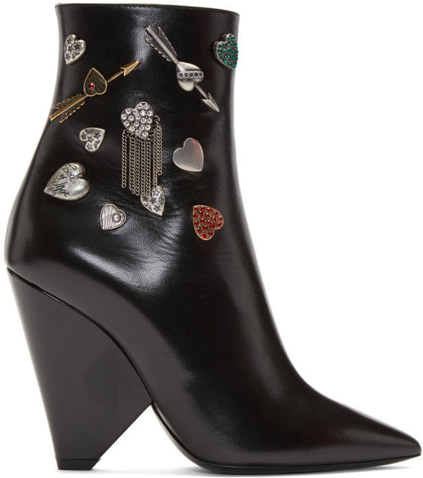 Saint Laurent Black Niki Charm Boots