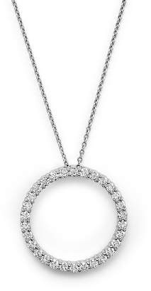 Roberto Coin 18K White Gold and Diamond Large Circle Necklace, 16""
