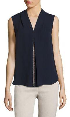 Elie Tahari Nia Chain Detail Silk Blouse $198 thestylecure.com