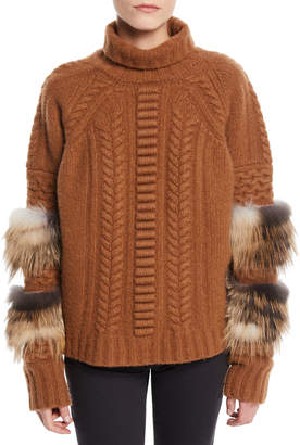 Sally Lapointe Turtleneck Long-Sleeve Cable-Knit Wool-Cashmere Sweater w/ Fox Fur