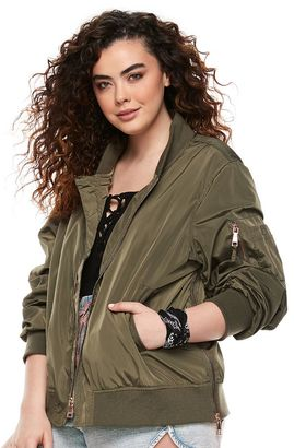 Madden NYC Juniors' Plus Size Bomber Jacket $90 thestylecure.com