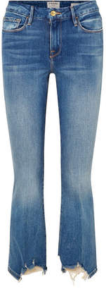 Frame Le Crop Mini Boot Distressed High-rise Jeans - Mid denim