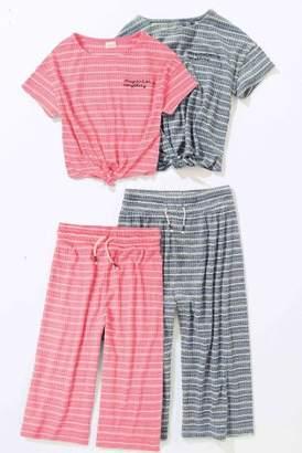 Next Girls Grey Stripe Culotte And T-Shirt Set (3-16yrs)