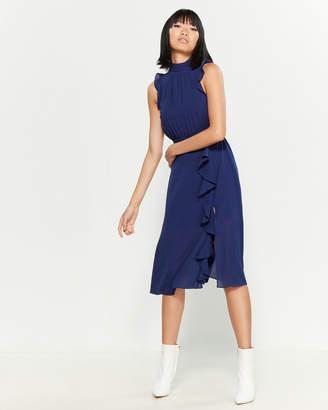 Ali & Jay Blue Mock Neck Ruffled Midi Dress