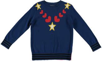 Stella McCartney Star & Heart Intarsia Knit Sweater, Size 4-14