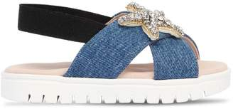 Crystal Embellished Denim Sandals