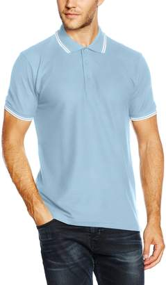 Fruit of the Loom Fruit of theoom Mens Tipped Short Seeve Poo Shirt (Roya Bue/White)