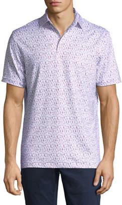 Peter Millar Men's Corkscrew-Print Jersey Polo Shirt