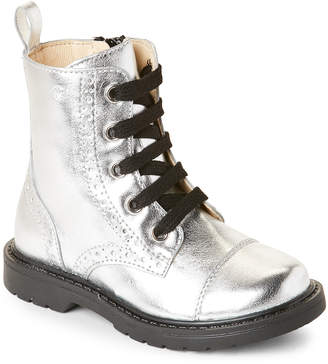 Naturino Toddler/Kids Girls) Silver Brogue Combat Boots