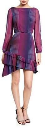 Saloni Felicia Printed Ruffle-Hem Long-Sleeve Mini Dress