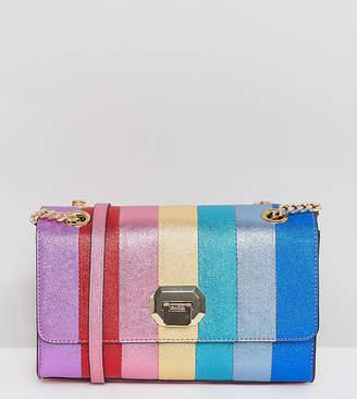 Aldo Cambarreri rainbow glitter striped cross body bag