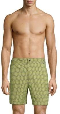 Trunks Printed Flat Front Swim
