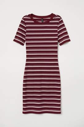 H&M Short-sleeved Jersey Dress - Red