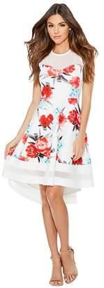 Quiz Cream Coral And Aqua Floral Dip Hem Dress