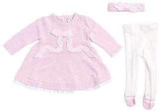 Newborn Girls Sweater Dress With Headband & Tights