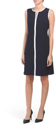 Piped Trim Crepe Dress
