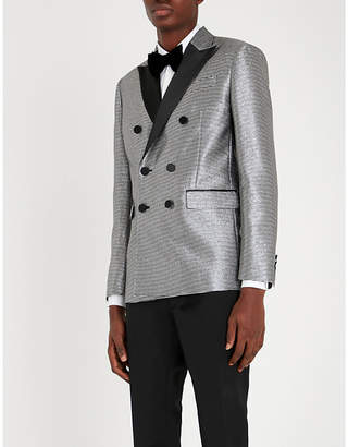 DSQUARED2 Metallic silk-satin trimmed jacquard blazer