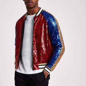 River Island Jaded red sequin bomber jacket