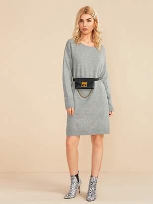 Shein Slit Hem Heathered Gray Sweater Dress Without Bag