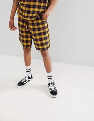 Asos Design Co-Ord Skater Shorts With Elasticated Waistband In Yellow Woven Check