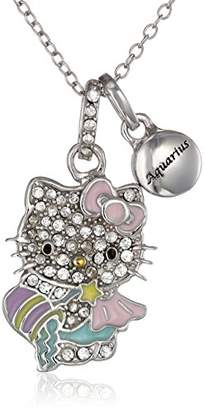 "Hello Kitty Zodiac"" Sterling Pave Crystal Enamel Full Body Pisces Pendant Necklace"