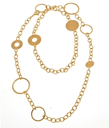 Mixed Ring Necklace Gold