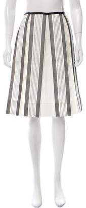 Charles Chang-Lima Striped Pleated Skirt