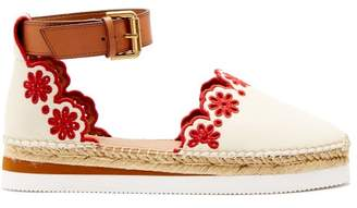 See by Chloe Laser Cut Leather Espadrilles - Womens - Red White