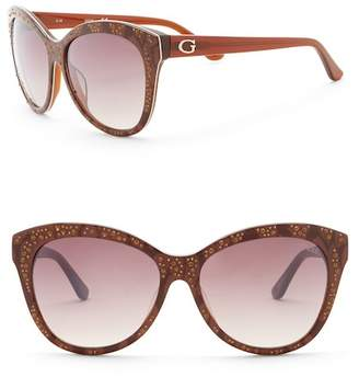 GUESS 56mm Crystal Embellished Cat Eye Sunglasses