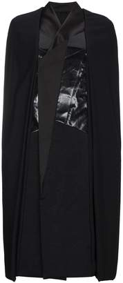 Rick Owens Leather panel cape coat