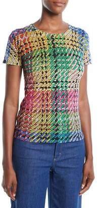 Escada Round-Neck Cap-Sleeve Multicolor Blanket-Weave Top