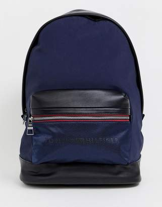 Tommy Hilfiger nylon and faux leather mix backpack with icon stripe detail in navy