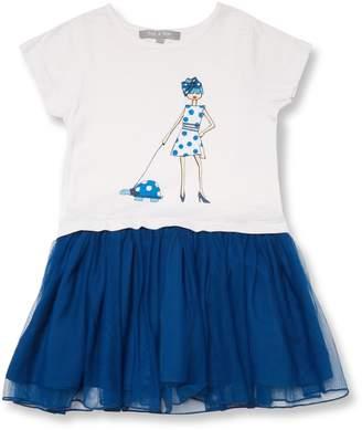 SAM. Zoe & Mesh Skirt Cotton Dress - Blue, Size 2-3y