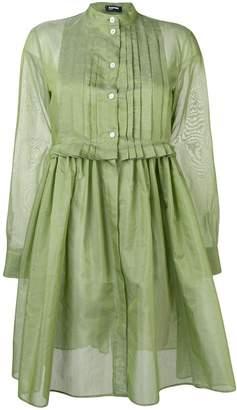 Jil Sander Navy pleated bib shirt dress