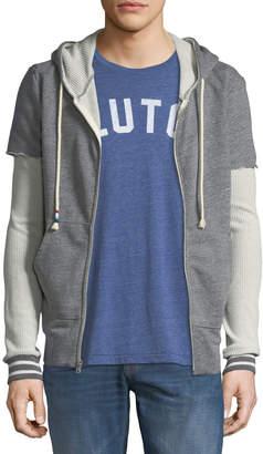Sol Angeles Men's Thermal-Sleeve Front-Zip Hoodie