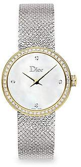 Christian Dior Women's La D De 25MM White & Gold Satine Watch