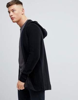 Pull&Bear Hooded Cardigan In Black