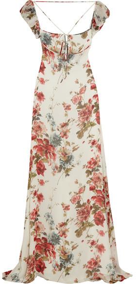Saint LaurentSaint Laurent - Floral-print Silk-georgette Gown - Pastel pink