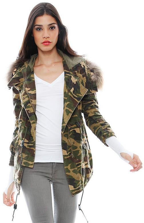 Singer22 Capulet Fur Hooded Military Parka in Camouflage