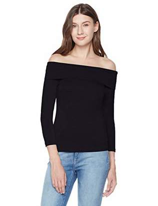 A.Dasher Women's Stretch Jersey Fitted 7/8 Sleeves Off The Shoulder Top