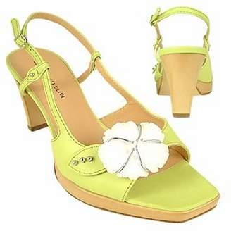 Borgo degli Ulivi Flower Pistachio Platform Leather Sandal Shoes