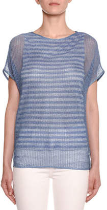 Missoni Crewneck Short-Sleeve Striped Under-Mesh Top