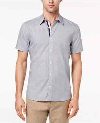 Ryan Seacrest Distinction Men's Slim-Fit Navy Geo-Print Sport Shirt, Created for Macy's