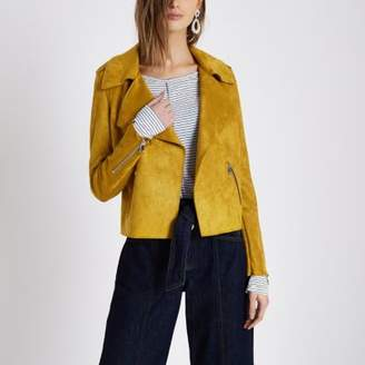 River Island Mustard yellow faux suede trench jacket